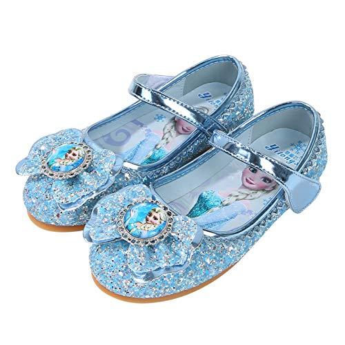 FStory&Winyee Mädchen Prinzessin Schuhe Kinder ELSA Sandalen Partei Glitzer Kristall Schuhe Mädchen Kostüm Zubehör Karneval Verkleidung Party Aufführung Fasching Tanzball, Blau, 26 EU