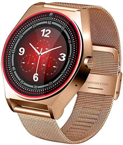 Reloj inteligente Bluetooth Fitness Tracker Monitor de sueño Podómetro Cámara de Apoyo SMS Notificación para Android IOS Mujeres/Hombres Oro-Oro