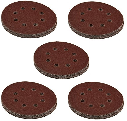 50 Stück Lissek Klett-Schleifscheiben Ø 125 mm Körnung 60 für Exzenter-Schleifer 8 Loch