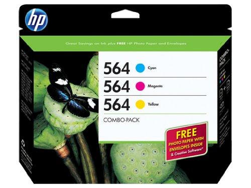 HP 564 Cyan, Magenta & Yellow Original Ink Cartridges with Photo Paper, 3 pack (B3B33FN)