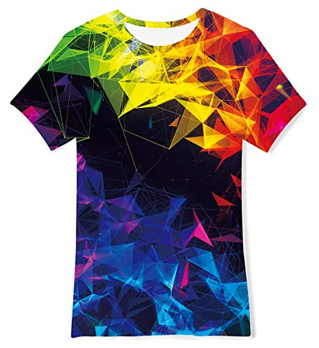 Jubestar Boy's 3D Geometry Print Graphic T-Shirts Summer Rainbow Tee Tops Personalized Short Sleeve Tshirt Age 13