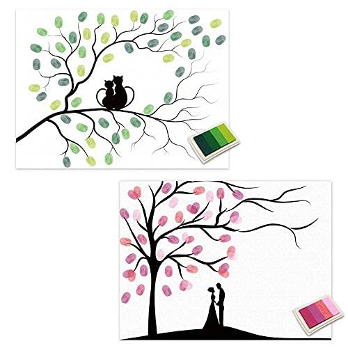 EQLEF Arbol de Huellas, Cartel de Lona con Firma, decoración de Pintura de Huellas Dactilares de Bricolaje con Almohadillas de Tinta de Colores, 2 Juegos