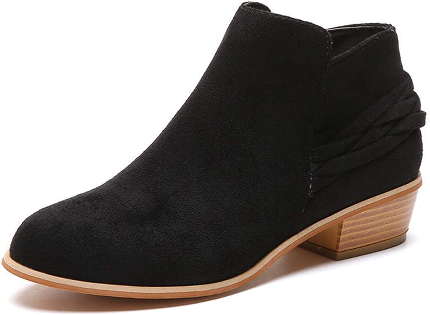 Suede Ankle Bootie Women Square Heel Knitted Zipper Round Toe Flock Solid shoes