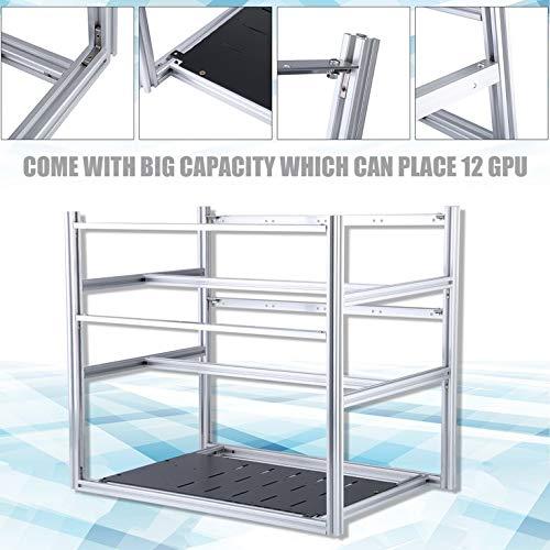 VRO Stackable Design Aluminum Bracket Open Air Mining Frame 12 GPU Mining Rig Case