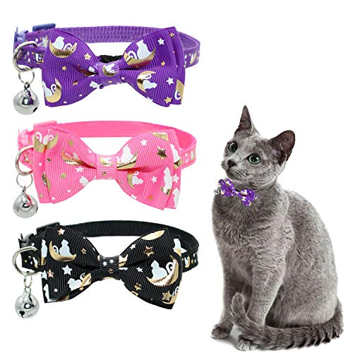 KITTAIL 3PCS Breakaway Bowtie Cat Collar with Bells - Glow in The Dark - Moons Star Pattern Adjustable of 6 - 11 inches, Soft & Comfortable Material for Kitten