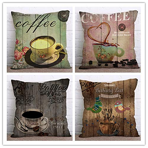 N / A Cushion Covers Vintage dark coffee cup Square Decorative Printed Throw Pillow Case pack of 4 Pillowcases Art Decorative Perfect For Home Office Couch Livingroom,Linen(45x45cm/18x18inch)