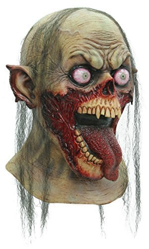 Tongue Slasher Zombie Latex Scary Halloween Head and Neck Mask by Creative