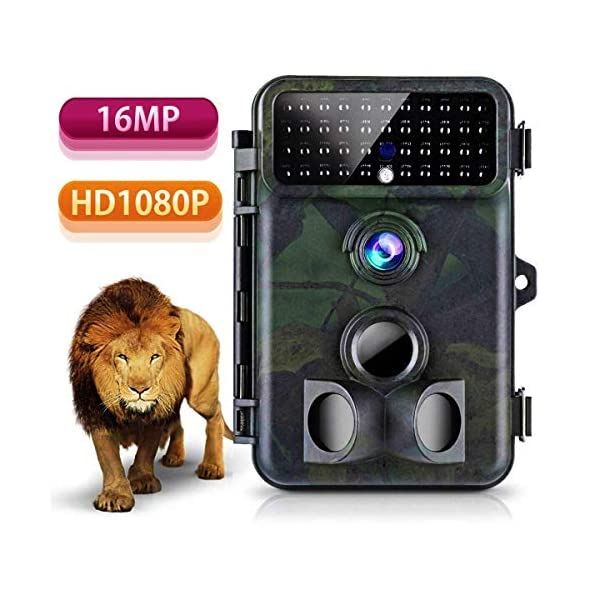 Trail Camera 16MP 1080P Tvird Wildlife Camera No Glow Night Vision Motion Activated 2S Trigger Speed 42PCS IR LED for Wildlife Monitoring