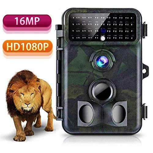 Tvird Cámara de Caza HD 16MP 1080P Infrarrojo Gran Angular 125 ° Movimiento de Visión Nocturna Activar Velocidad de Disparo 2 Segundos, 42 LED IR para Monitoreo de Vida Silvestre