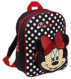 Disney Minnie Maus 3D-Glitzerrucksack für Mädchen, Schulrucksack, Lunchtasche, rot / schwarz (Rot) - MNCK11266