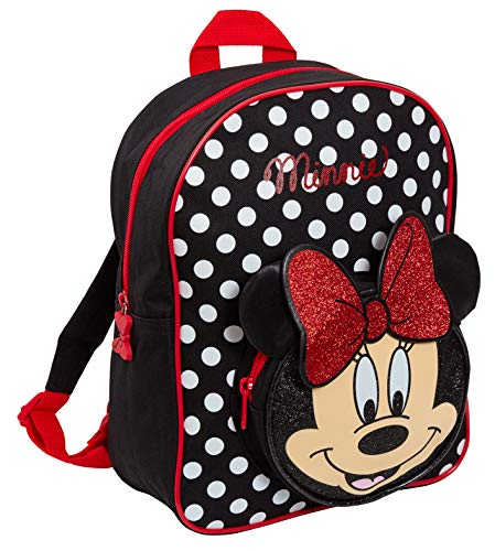 Disney Minnie Maus 3D-Glitzerrucksack für Mädchen, Schulrucksack, Lunchtasche, rot/schwarz (Rot) - MNCK11266