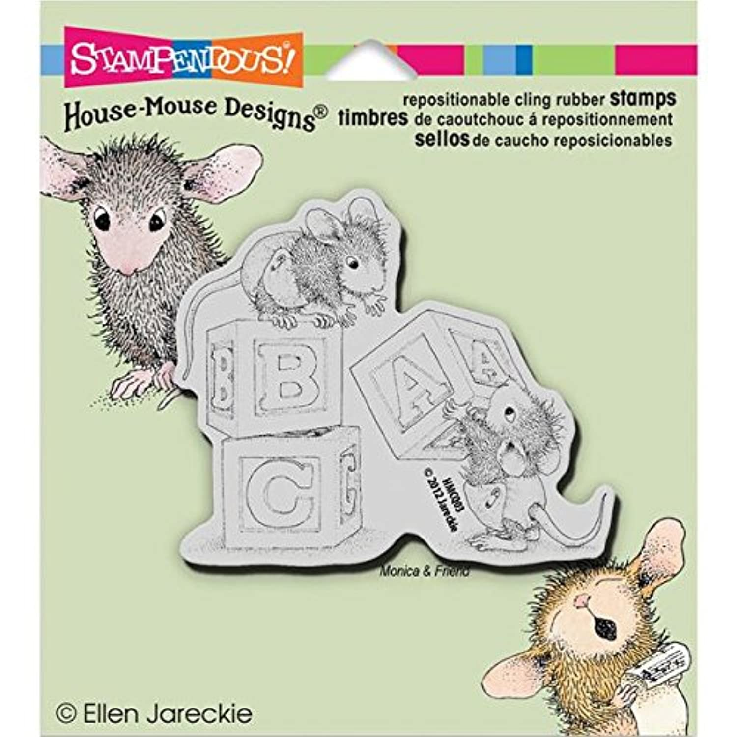 Stampendous House Mouse Cling Rubber Stamp, 5.5 by 4.5-Inch, Baby Block