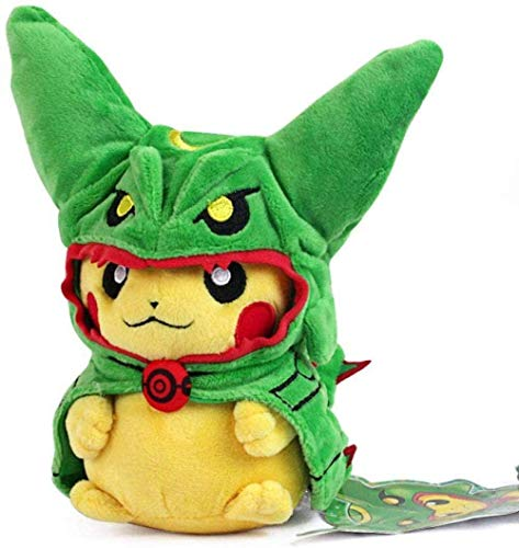 HNTOY Rayquaza Series Mega Poncho Pikachu Figure Animal Toys Plush Doll Collectable Xmas Gift (Black Color)-Green Rayquaza Pikachu
