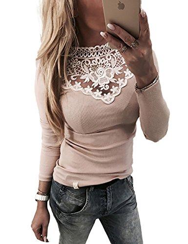 Boutiquefeel Damen Lace Splicing Langarm Patchwork T-Shirt Tunic Bluse Oberteile Rosa L