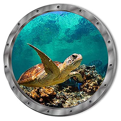 Lankater Fish Ocean View Windows Wall Sticker Washing Machine Door Decals Decor
