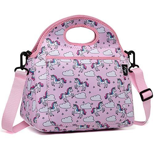 Kasgo Lunchtasche, Neopren Isoliert Einhorn Lunch Tasche Kinder Mittagstasche für Mädchen Kühltasche Lunch Tote mit Fronttasche und Abnehmbarer Verstellbarer Schultergurt Lunchpaket