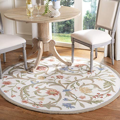 Safavieh Chelsea Collection HK248A Hand-Hooked Ivory Premium Wool Round Area Rug (4' Diameter)