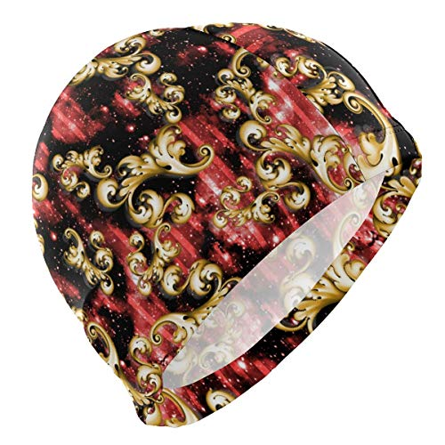 UPNOW Gorro de baño Vintage Florals Gorro de baño Rojo para Hombres Niño Adulto Joven Adolescente Gorro de baño Antideslizante