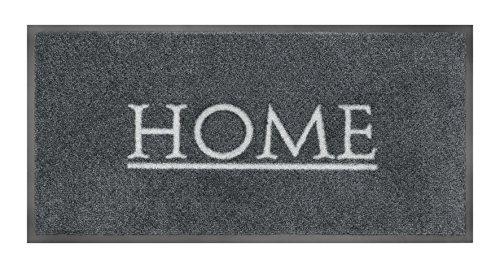 Home Fußabtreter Außenbereich und Fußmatte Innenbereich I Rutschfester Teppich I Schmutzfangmatte waschbar Grau I Fußmatte 40 x 80 cm groß