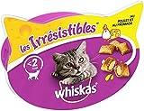 Whiskas Les Irrésistibles - Friandises au poulet et au fromage pour chat adulte, croquantes à l'extérieur et tendres à l'intérieur, 8 boîtes de...