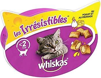Whiskas Les Irrésistibles - Friandises au poulet et au fromage pour chat, 8 boîtes de 60 g de récompenses