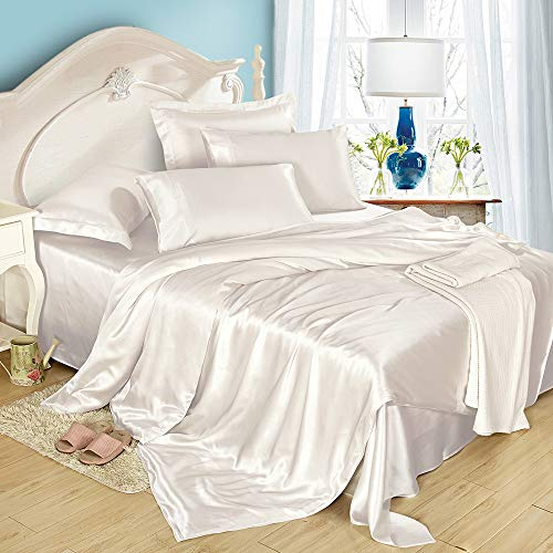 LilySilk 4Pcs Silk King Size Sheets Flat Sheet Fitted Sheet Oxford Pillowcases Set 19 Momme Soft Cool Silk Ivory, Comfortable
