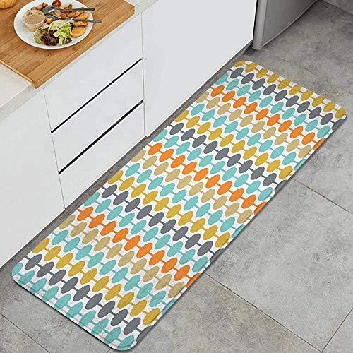 LUNASVT Retro Circles Mid Century Modern Background Anti Fatigue Kitchen Mat Comfort Floor Mats Non-Slip Oil Stain Resistant Easy to Clean Kitchen Rug