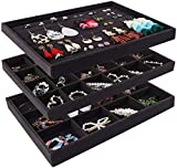Mebbay Stackable Velvet Jewelry Trays Organizer, Jewelry Storage Display Trays All Velvet for Drawer, Earring Necklace Bracelet Ring Organizer, Set of 3 (Black)