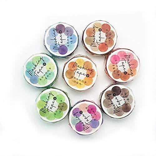 8Rolls Circle Stickers,14x14mm Floral Candy Color Dot Washi Stickers Round Stickers Dot Writing Washi Tape