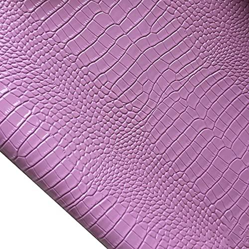 Stasy Cuero Tela De Piel Sintética 138 × 50 Cm Patrón De Cocodrilo 3D Tela Sintética PU Tapicería De Vinilo para Coser Decoraciones Manualidades Bricolaje Lazos Cabello Sofás(Color:21 Purple)
