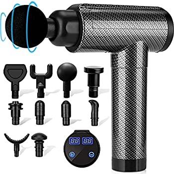 Muscle Massage Gun Deep Tissue for Athletes Percussion Electric Massagers for Neck Back Shoulder Body Pain Relief 30 Speeds Quiet Handheld Massager LCD Touch Screen with 10 Heads