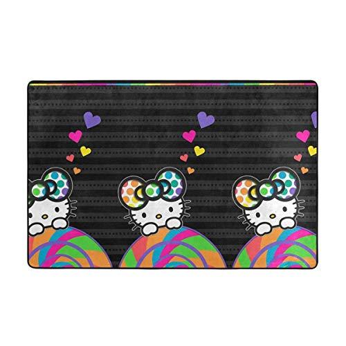 wenhe Alfombra antideslizante grande de Hello Kitty con dibujos animados de Hello Kitty, alfombra para el salón, alfombra para el suelo, 60 x 39 pulgadas