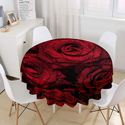 Himlaya Manteles Mesa Redonda, 3D Rosa Flor Impresión Manteles Impermeable Mantelerias Antimanchas Mantel de Mesa para Salón Cocina Comedor Decoración (Rosa roja,180cm)