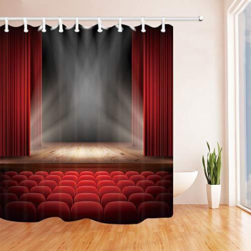 /N de Cortinas de Ducha para decoración de Escenario, Cortina roja en el Escenario y más Silla roja Escenario de Teatro con Brillo de luz, Cortinas de baño
