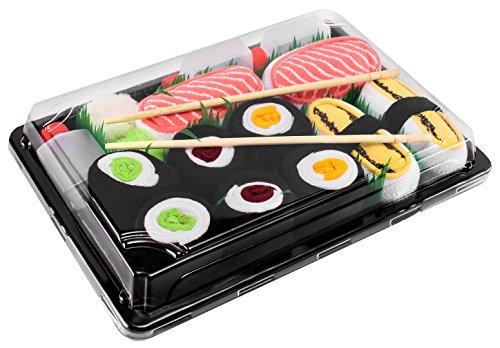 Rainbow Socks - Damen Herren - Sushi Socken Tamago Lachs 3x Maki - Lustige Geschenk - 5 Paar - Größen 36-40