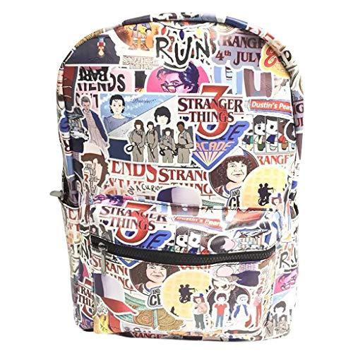 Stranger Things Backpack Cute Cartoon Printed Stranger Things School Bag Rucksack Colorful Book Bags Daypack Travel Bag Stranger Things Merchandise for Boys Girls (GQWY1)