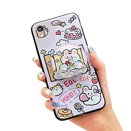 Funda para teléfono Huawei Honor 8S/Y5 2019/Play 3E, resistente a la suciedad con diseño líquido impermeable, diseño de dibujos animados y arena para mujer silicona TPU flexible, rosa conejo y pastel