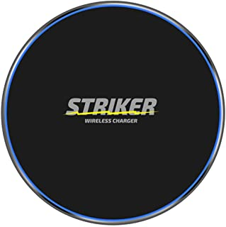 Striker Products Fast Wireless Charger Pad, 10W Wireless Charge Compatible w/Galaxy Note 9/S9/S9 Plus/Note 8/S8, 7.5W Compatible iPhone Xs Max/XR/XS/X/8/8Plus, 5W All QI-Enabled Phones(No AC Adapter)