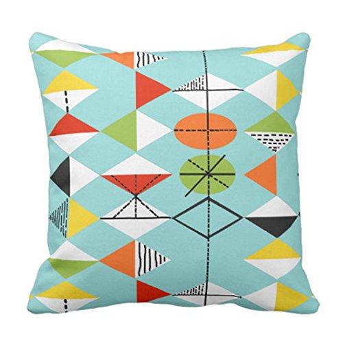 Throw Pillow Cover Colorful Mid Retro Harlequin Orange Century Funda Almohada Decorativa Decoración para el hogar Funda Almohada Cuadrada 18 x 18 Pulgadas