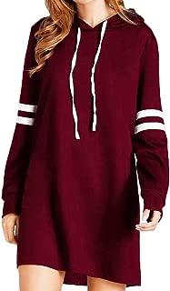Women Hoodie Dresses Fashion New Long Sleeve Casual Sweatshirt Jumper Striped Pullover Dress