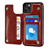 S-Tech Case iPhone 11 (6.1 inch) Wallet with Card Holder, Leather Kickstand Card Slots Case, Double Magnetic Clasp and Durable Shockproof Cover for iPhone 11 6.1 Inch 2019 (Brown)