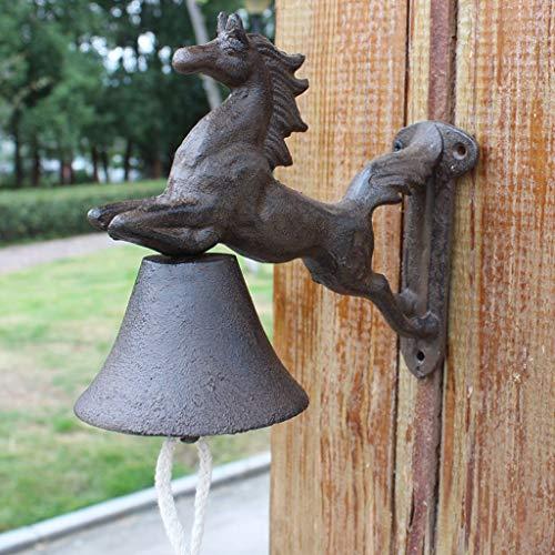 LRW Pastorale stijl smeedijzeren deurbel gietijzer handklokken retro pony modelering deurbel