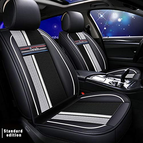 Car Seat Cover 5 Seat,For VW GOLF 6 Variant (AJ5) Tourer 2012-2013(for Tourer) Car Seat Protection,Classic Soft Waterproof Full Set PU Leather Car Front/Rear Seat Pads White