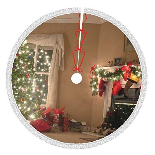 Affordable shop Weihnachtsbaum-Rock mit Quaste, 91,4 cm, Ferienhaus, Kamin, Baum, weiße Baumröcke für Weihnachtsjahr, Party, Urlaub, Heimdekorationen