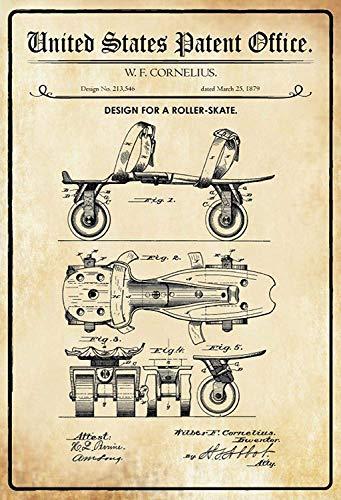NWFS patent ontwerp voor een rolschaats metalen bord bord metalen plaat plaat metalen tin Sign gewelfd gelakt 20 x 30 cm