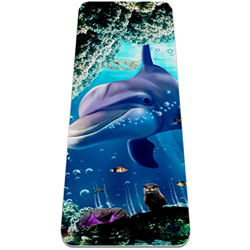 Yoga Mat Non Slip TPE Dolphin Coral Cave High Density Padding to Avoid Sore Knees,Perfect for Yoga, Pilates and Fitness