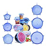 BeEcone Store Silicone Stretch Food Covers Lids - Various Sizes Reusable Durable and Expandable Containers Preservative Wrappers for Fruits & Vegetables or Cups, Bowls, Mugs, Dishes and Cans (6 PACK-BLUE)
