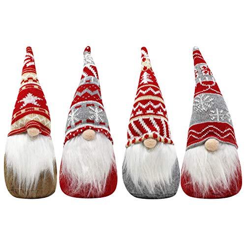 JOYIN 4 Pcs Christmas Gnome Swedish Santa Tomte Red and Grey Patterns Ornaments 12' Plush Gnome Tabletop for Christmas Decorations