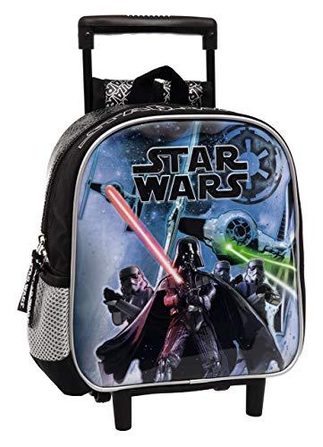 Star Wars Mochila Preescolar con Carro, Color Negro, 5.75 litros