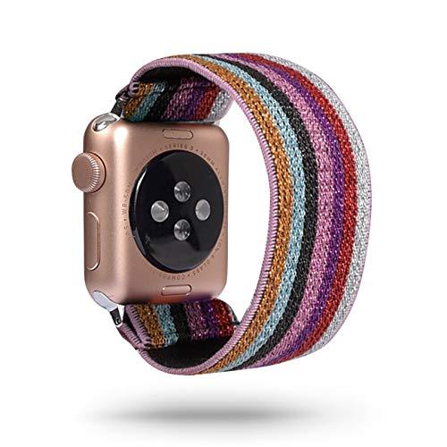 PZZZHF Loop Banda Bohemia elástico de Nylon for Apple Seguir 6SE Correa 38/40 mm 42/44 mm for IWATCH 5/4/3 2 Hombre Mujeres Ver Banda (Band Color : Multicolor Red, Band Width : 38mm 40mm M L)